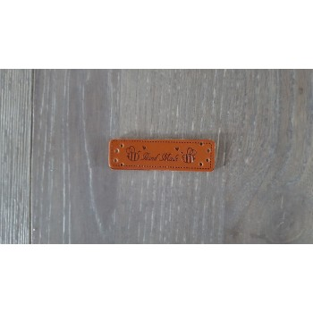 """Leren label ''hand made"""" met bijtje (per stuk)"""