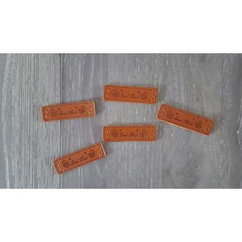 """Leren label ''hand made"""" met bijtje (5 stuks)"""